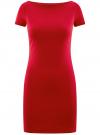 Платье трикотажное с вырезом-лодочкой oodji #SECTION_NAME# (красный), 14001117-2B/16564/4500N