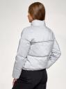 Куртка утепленная из светоотражающей ткани oodji для женщины (серебряный), 10203083-3/50557/9100N