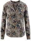 Блузка принтованная из вискозы oodji #SECTION_NAME# (черный), 21400394-1/24681/2919F