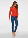 Рубашка базовая с V-образным вырезом oodji для женщины (красный), 13K02001B/42083/4500N
