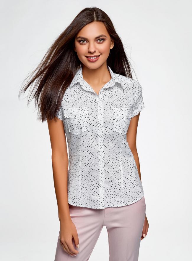 Рубашка из хлопка принтованная oodji #SECTION_NAME# (белый), 11402084-3/12836/1029D
