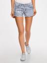 Шорты джинсовые с вышивкой oodji для женщины (синий), 12807074/45254/7070J
