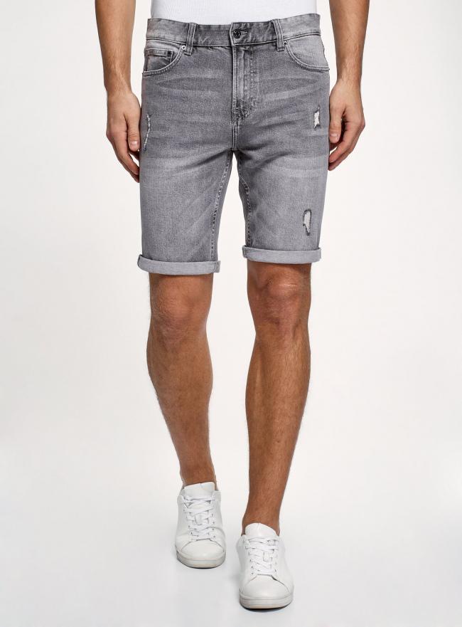 Шорты джинсовые с потертостями oodji #SECTION_NAME# (серый), 6L220021M-1/46627/2300W