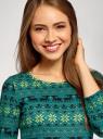 Платье трикотажное с вырезом-капелькой на спине oodji #SECTION_NAME# (зеленый), 24001070-5/15640/6C52E - вид 4