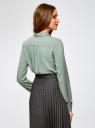 Блузка базовая из вискозы oodji #SECTION_NAME# (зеленый), 11411136B/26346/6012D - вид 3