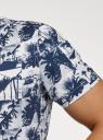 Рубашка принтованная с коротким рукавом oodji #SECTION_NAME# (синий), 3L410144M/48244N/1079G - вид 5