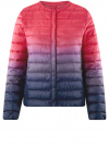 Куртка стеганая с круглым вырезом oodji для женщины (розовый), 10204040-1B/42257/4D79T
