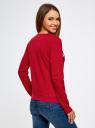Свитшот с фактурной вышивкой oodji для женщины (красный), 14801045-2/43623/4510P