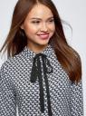 Блузка вискозная с завязками oodji #SECTION_NAME# (синий), 11411169/24681/7912A - вид 4
