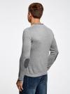 Пуловер с V-образным вырезом и декоративными пуговицами oodji #SECTION_NAME# (серый), 4L212152M-1/47210N/2379B - вид 3
