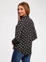 Блузка из струящейся ткани oodji #SECTION_NAME# (черный), 11400368-3/32823/2912F - вид 3