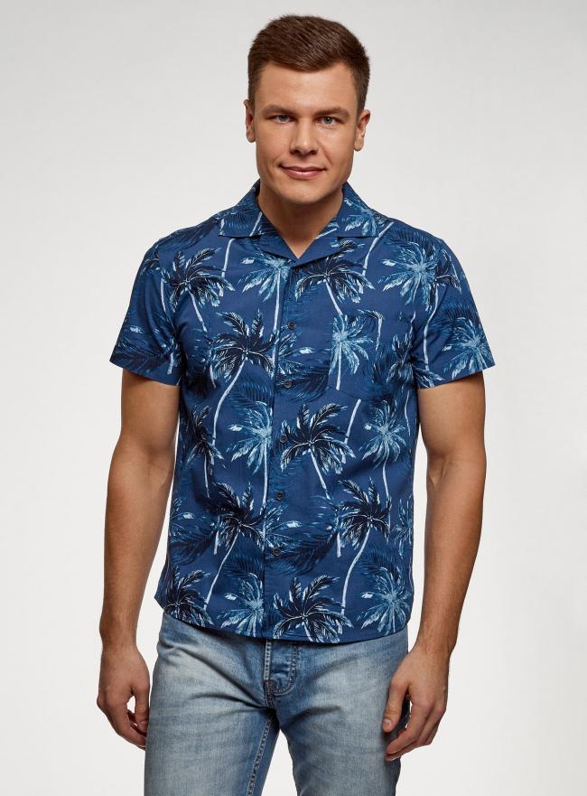 Рубашка принтованная с коротким рукавом oodji #SECTION_NAME# (синий), 3L410132M/19370N/7570G