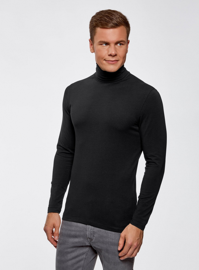 Водолазка базовая облегающая oodji для мужчины (черный), 5B513001M/46737N/2900N