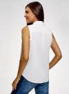 Рубашка без рукавов с нашивками oodji #SECTION_NAME# (белый), 14901419-1/13175N/1045P - вид 3