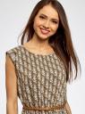 Платье вискозное без рукавов oodji #SECTION_NAME# (зеленый), 11910073B/26346/6645O - вид 4