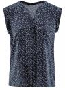 Блузка из принтованной вискозы с двумя карманами oodji #SECTION_NAME# (синий), 21412132-2/24681/7935E