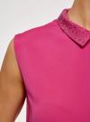 Топ из струящейся ткани с декором на воротнике oodji для женщины (розовый), 14911006-1/43414/4701N - вид 5