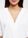 Рубашка хлопковая с V-образным вырезом oodji #SECTION_NAME# (белый), 13K05001/33113/1000N - вид 4