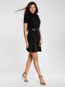 Платье с погонами и ремнем из искусственной кожи oodji для женщины (черный), 11910088/38253/2900N