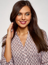 Блузка вискозная с рукавом-трансформером 3/4 oodji для женщины (разноцветный), 11403189-3B/26346/1245G