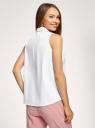 Топ хлопковый свободного силуэта oodji для женщины (белый), 14901424/42785/1000N