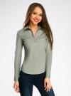 Рубашка базовая с нагрудными карманами oodji #SECTION_NAME# (зеленый), 11403222B/42468/6000N - вид 2