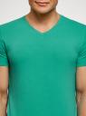 Футболка базовая с V-образным вырезом oodji для мужчины (зеленый), 5B612002M/46737N/6501N