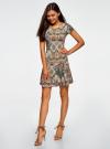 Платье трикотажное с воланами oodji #SECTION_NAME# (зеленый), 14011017/46384/6233E - вид 6