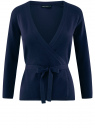 Жакет трикотажный с запахом oodji для женщины (синий), 63212495/18944/7900N