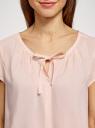 Блузка свободного силуэта с бантом oodji #SECTION_NAME# (розовый), 11411154-1B/24681/4002N - вид 4