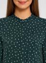 Блузка вискозная с регулировкой длины рукава oodji #SECTION_NAME# (зеленый), 11403225-3B/26346/6910G - вид 4