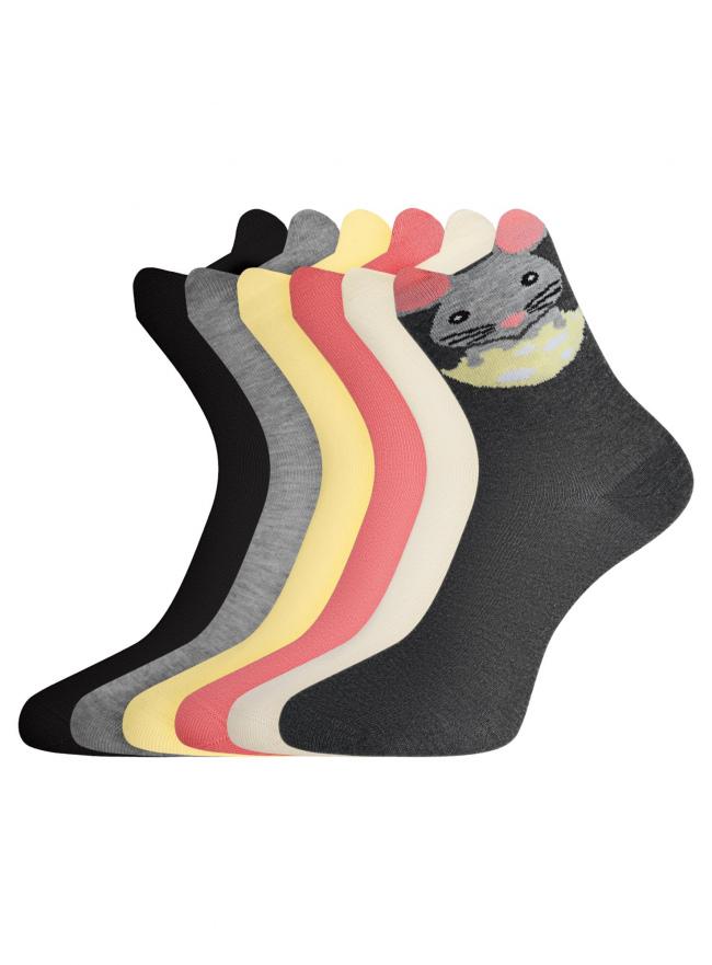 Комплект хлопковых носков (6 пар) oodji для женщины (разноцветный), 57102802-2T6/47613/8