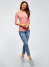 Футболка с рукавом 3/4 и открытыми плечами oodji для женщины (розовый), 14207007B/46867/4100M - вид 6