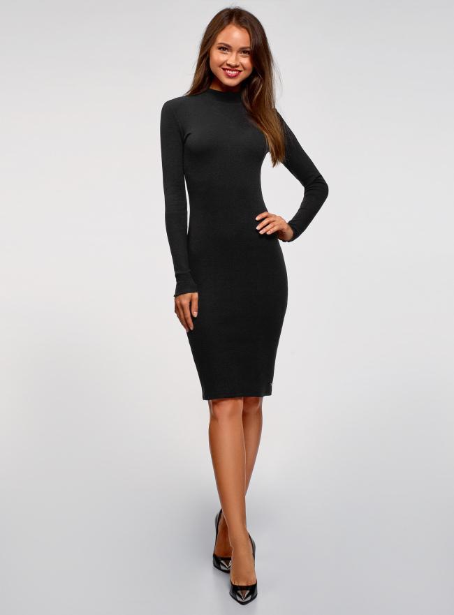 Платье трикотажное с воротником-стойкой oodji для женщины (черный), 14011035-2B/48037/2900N