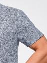 Рубашка принтованная с коротким рукавом oodji #SECTION_NAME# (синий), 3L210052M/46877N/7079F - вид 5