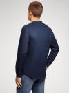 Рубашка льняная без воротника oodji для мужчины (синий), 3B320002M/21155N/7800N - вид 3