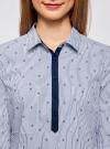 Рубашка с нагрудными карманами и контрастной отделкой oodji #SECTION_NAME# (синий), 11403222-5B/46807/7910S - вид 4