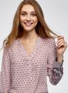 Блузка прямого силуэта с V-образным вырезом oodji #SECTION_NAME# (розовый), 21400394-3/24681/4074E