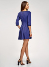 Платье трикотажное со складками на юбке oodji #SECTION_NAME# (синий), 14001148-1/33735/7500N - вид 3