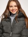 Куртка удлиненная с капюшоном oodji для женщины (зеленый), 10204071/45928/6800N