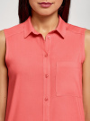 Топ вискозный с нагрудным карманом oodji для женщины (красный), 11411108B/26346/4300N - вид 4