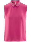 Топ из струящейся ткани с декором на воротнике oodji для женщины (розовый), 14911006-1/43414/4701N