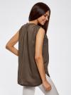 Блузка без рукавов с металлическими кнопками oodji #SECTION_NAME# (коричневый), 21412131/35251/3700N - вид 3