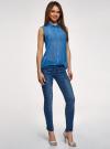 Топ из струящейся ткани с рубашечным воротником oodji для женщины (синий), 14903001B/42816/7501N - вид 6