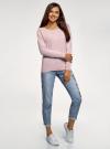Джемпер базовый с круглым вырезом oodji для женщины (розовый), 63812571-1B/46192/4010M - вид 6