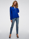 Блузка из струящейся ткани с металлическим украшением oodji #SECTION_NAME# (синий), 21414004/45906/7500N - вид 6