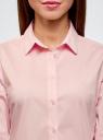 Блузка хлопковая с рукавом 3/4 oodji #SECTION_NAME# (розовый), 13K03005B/26357/4010B - вид 4