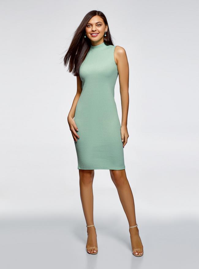 Платье в рубчик с воротником-стойкой oodji для женщины (зеленый), 14005138-2/46412/6500N