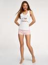 Пижама хлопковая с принтом oodji для женщины (белый), 56002199-6/46154/1040P
