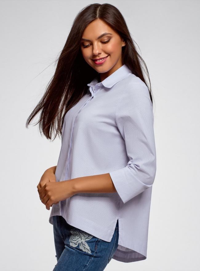 Рубашка свободного силуэта с удлиненной спинкой oodji #SECTION_NAME# (синий), 13K11002B/45387/1070S